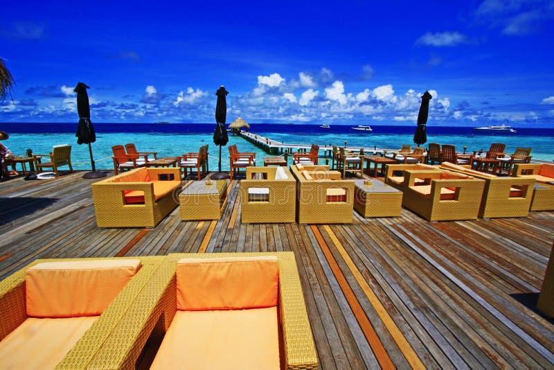 酒吧大阳台在马尔代夫 库存照片