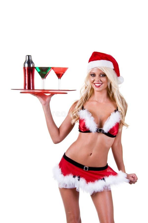 酒吧招待圣诞节妇女 图库摄影