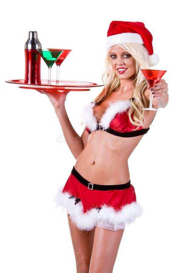 酒吧招待圣诞节妇女 免版税库存照片