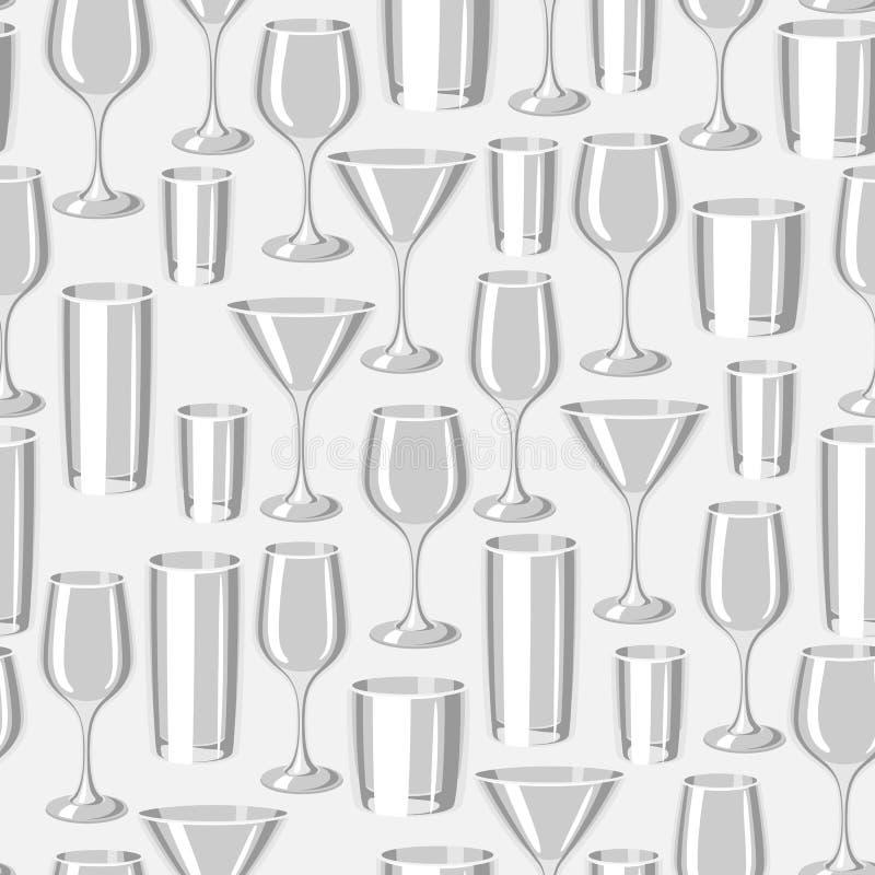 酒吧玻璃的类型 与酒精玻璃器皿的无缝的样式 库存例证