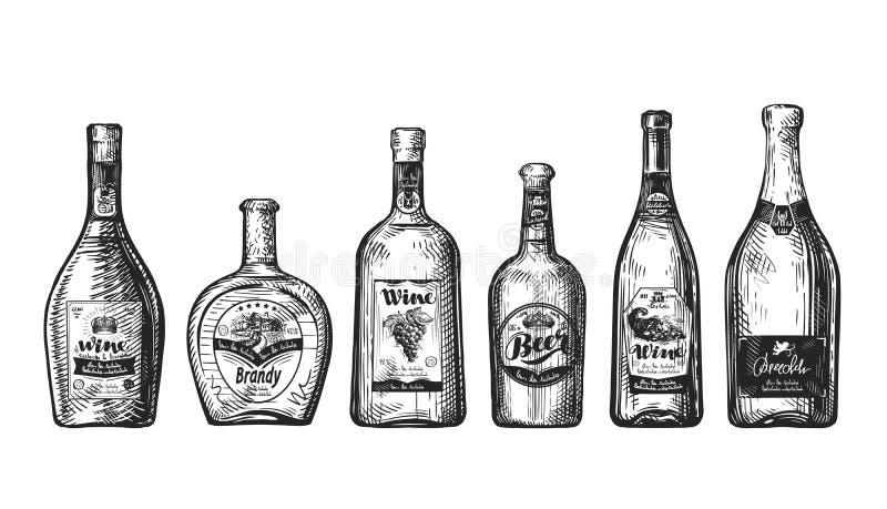 酒吧的手拉的集合瓶 酒精饮料,饮料例如酒,啤酒,白兰地酒,香槟,威士忌酒,伏特加酒 剪影il 向量例证