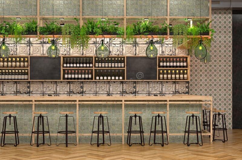 酒吧的现代设计在顶楼样式的 3D一个咖啡馆的内部的形象化与一个酒吧柜台的与葡萄酒和普罗旺斯d 向量例证