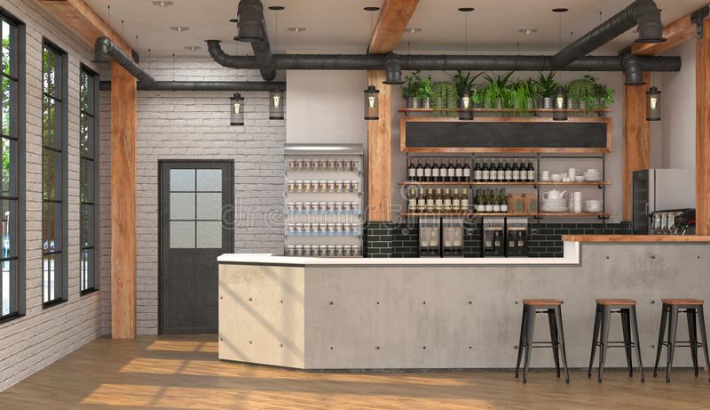 酒吧的现代设计在顶楼样式的 3D一个咖啡馆的内部的形象化与酒吧柜台的 向量例证