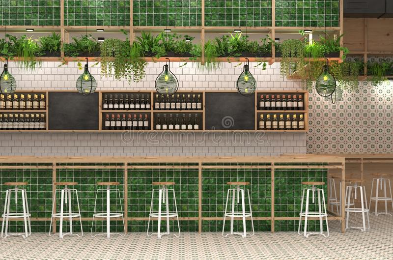 酒吧的现代设计在顶楼样式的 3D一个咖啡馆的内部的形象化与酒吧柜台的 库存例证