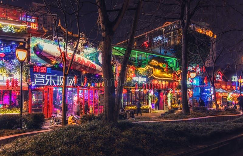 酒吧街道在成都,中国 图库摄影