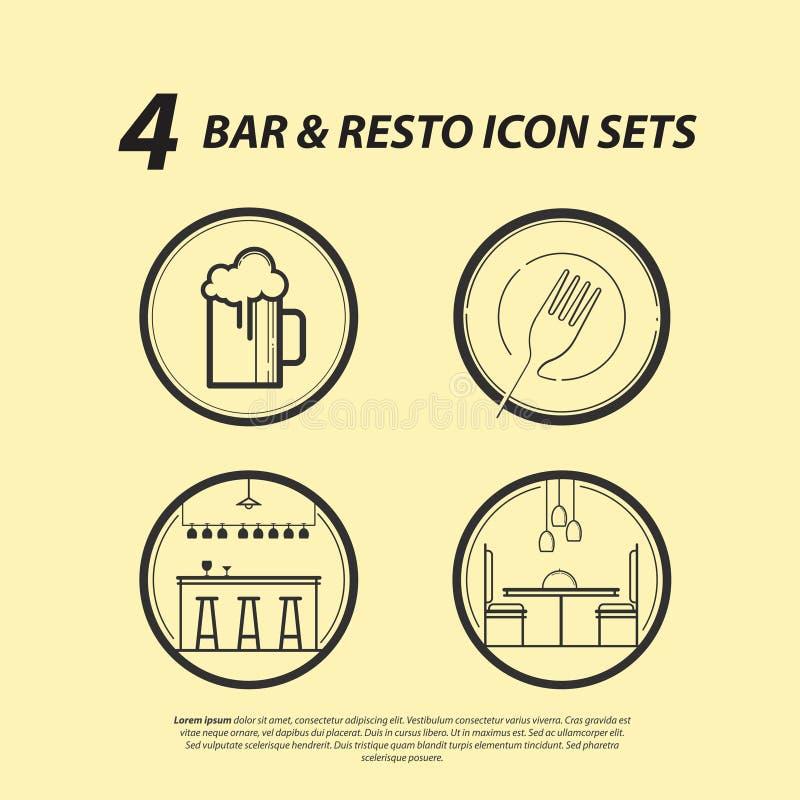 4酒吧& Resto象集合 库存例证