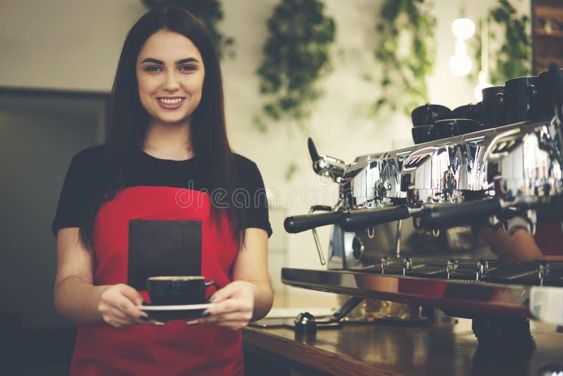 酒吧caffe可爱的女性女实业家barista所有者  免版税图库摄影