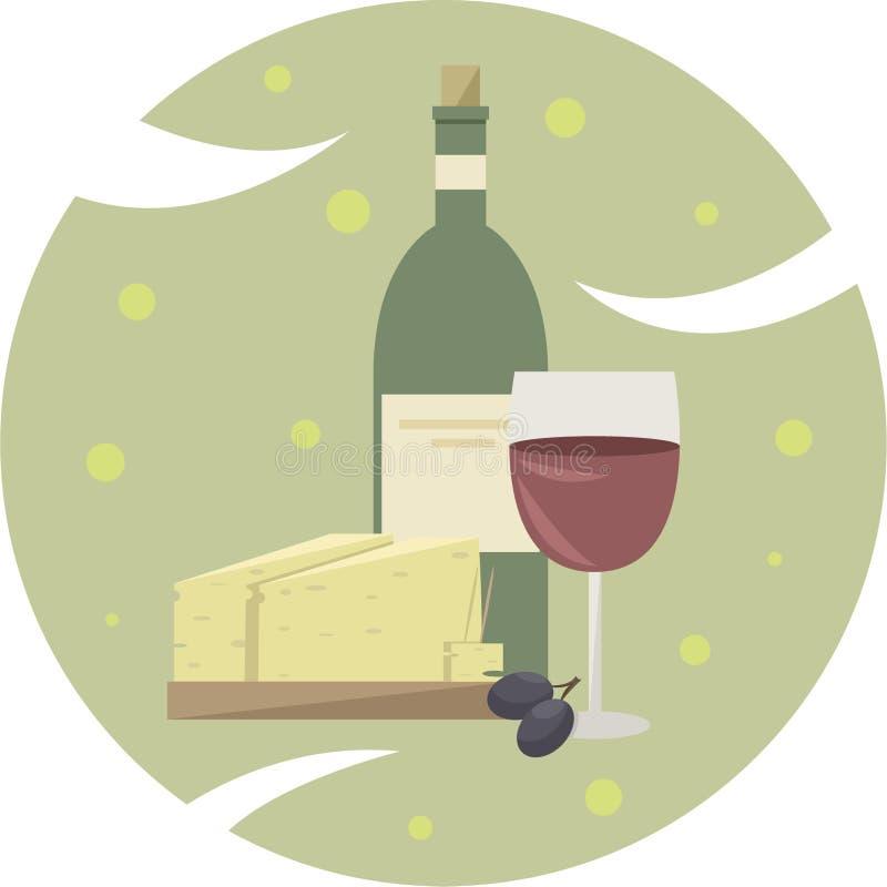 酒和乳酪商标  免版税库存图片