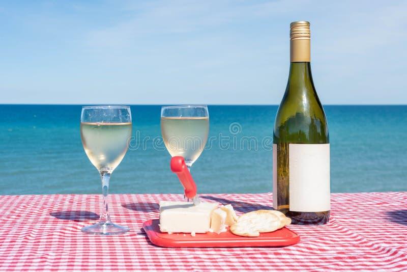 酒和乳酪在湖边野餐区 免版税图库摄影