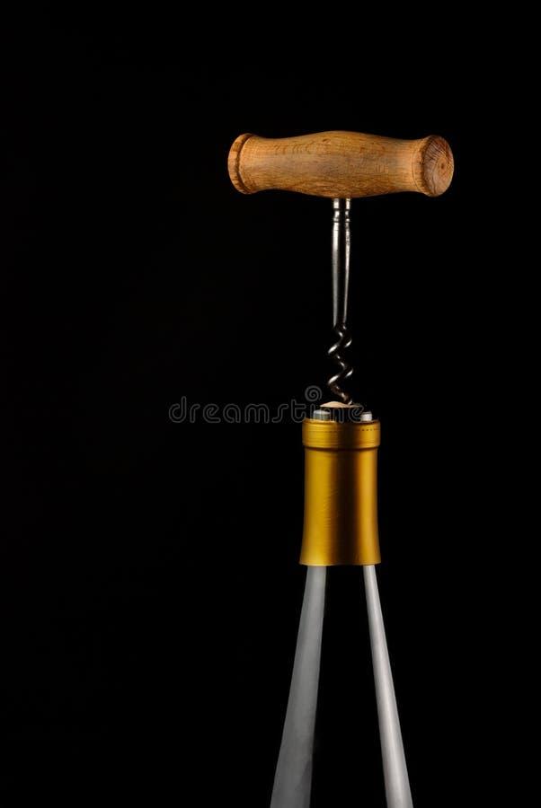 酒和拔塞螺旋Bottl  免版税库存照片