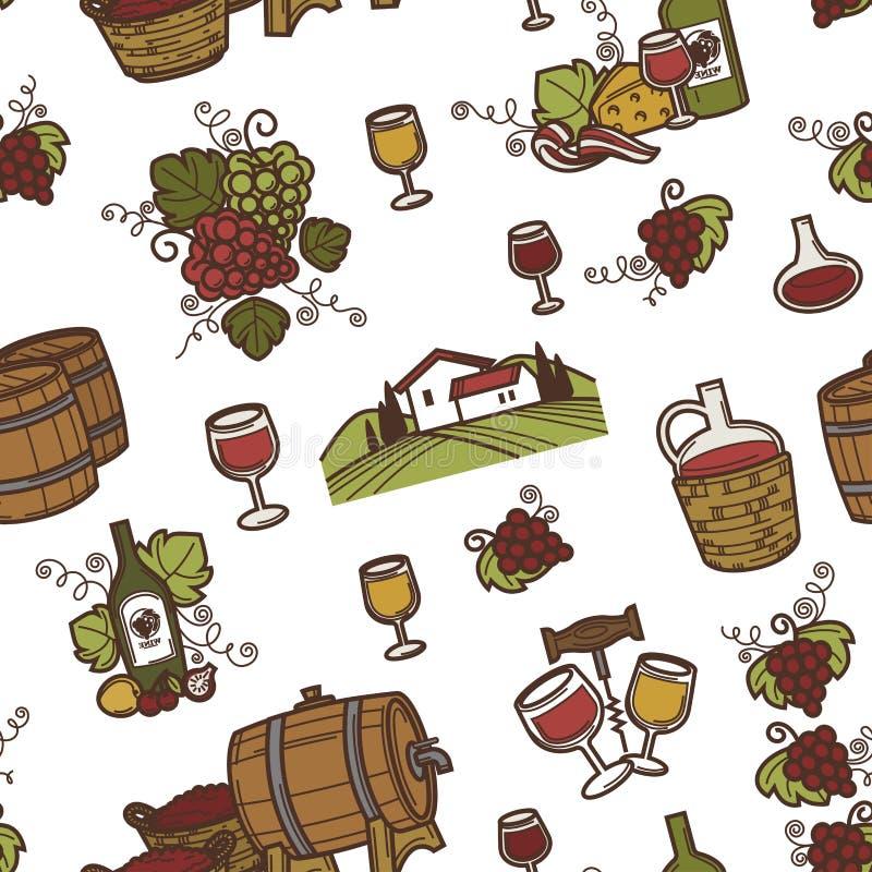 酒和桶与酒精饮料无缝的样式传染媒介 皇族释放例证