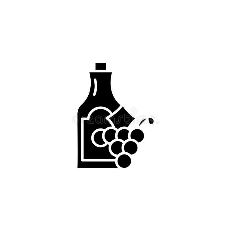 酒和葡萄黑象概念 酒和葡萄平的传染媒介标志,标志,例证 向量例证