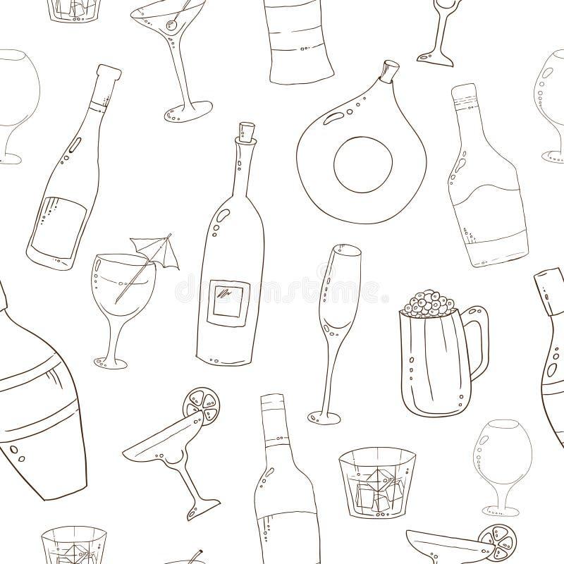 酒和鸡尾酒无缝的背景 向量例证