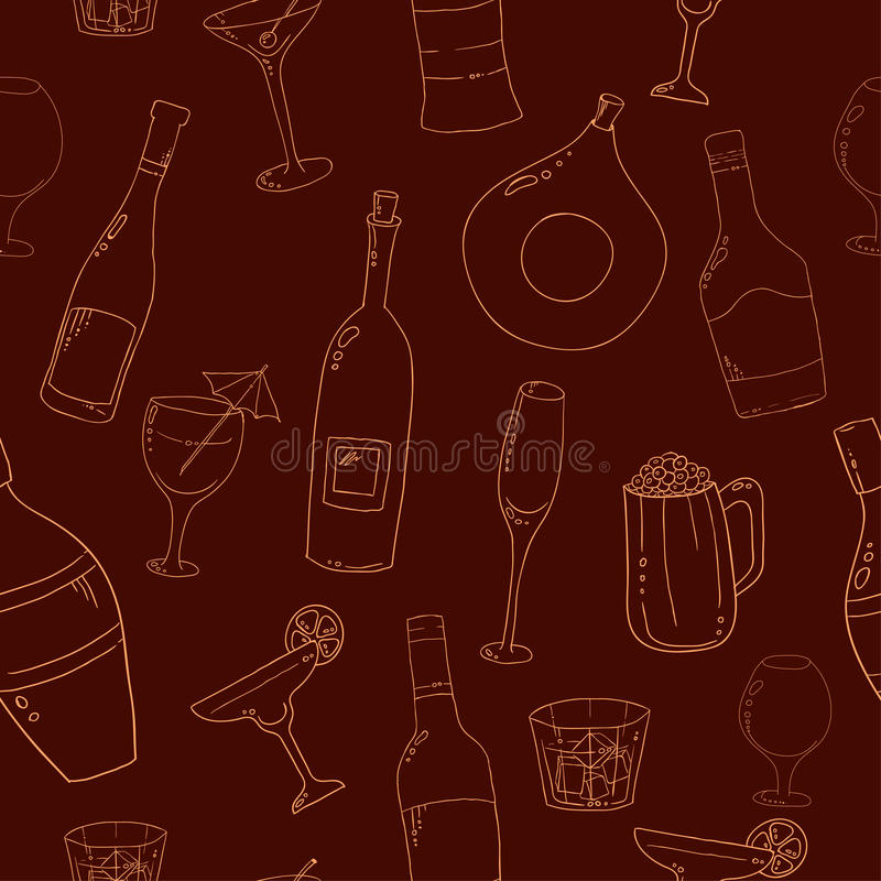 酒和鸡尾酒无缝的背景 库存例证