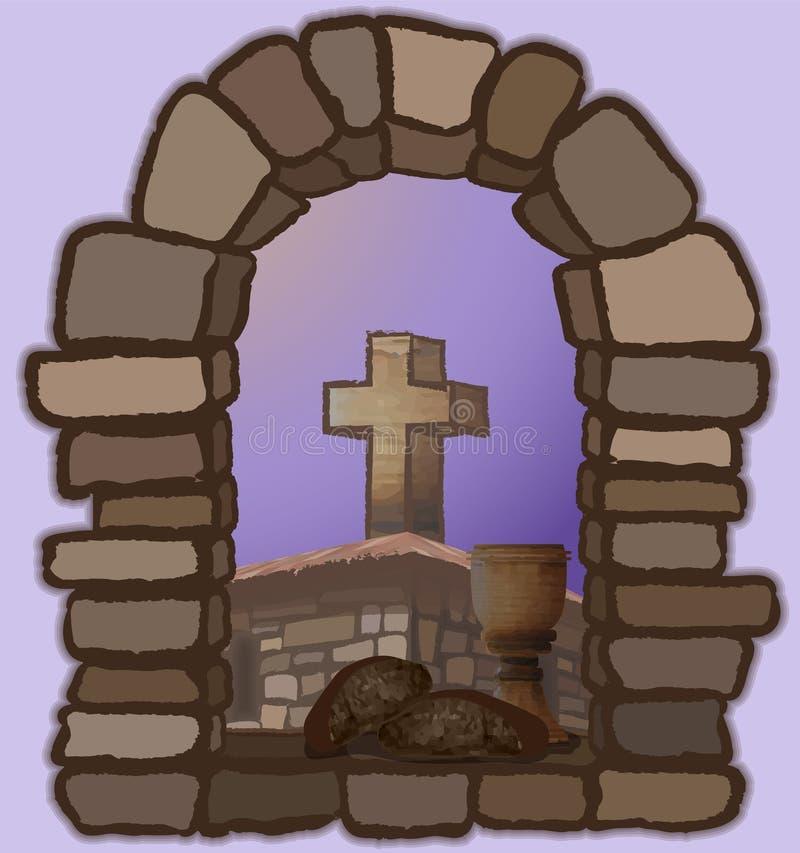 酒和黑面包在一个老石窗口,忽略中世纪教会和十字架 皇族释放例证