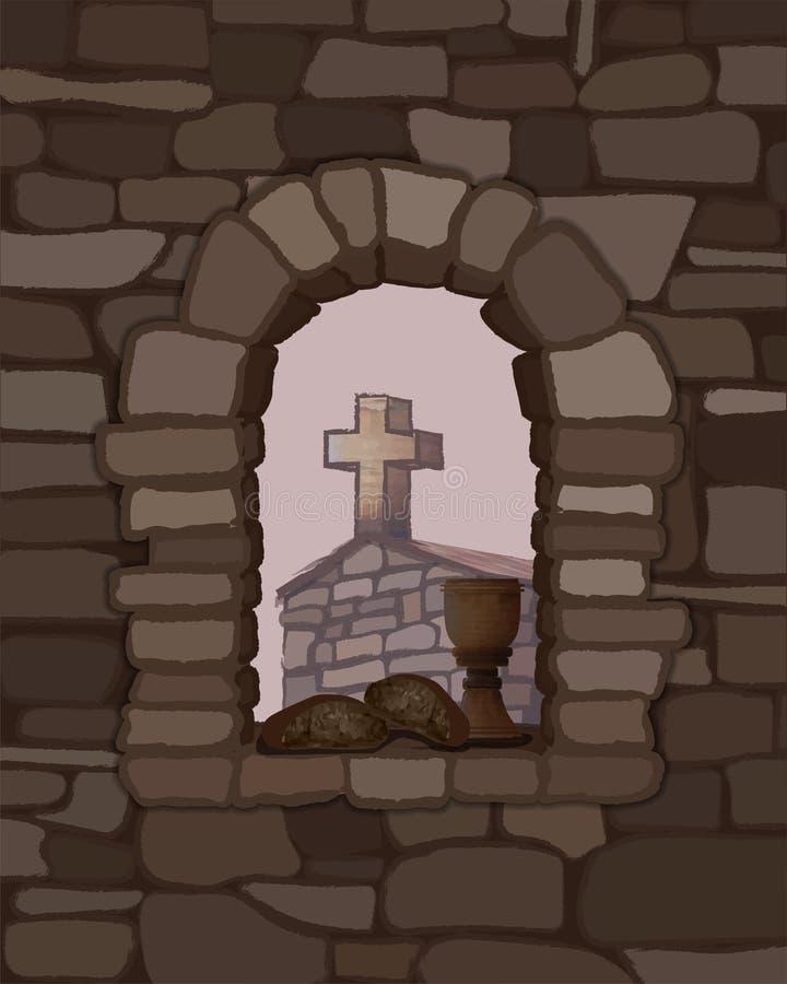 酒和黑面包在一个被成拱形的石窗口、古老中世纪教会和十字架 库存例证