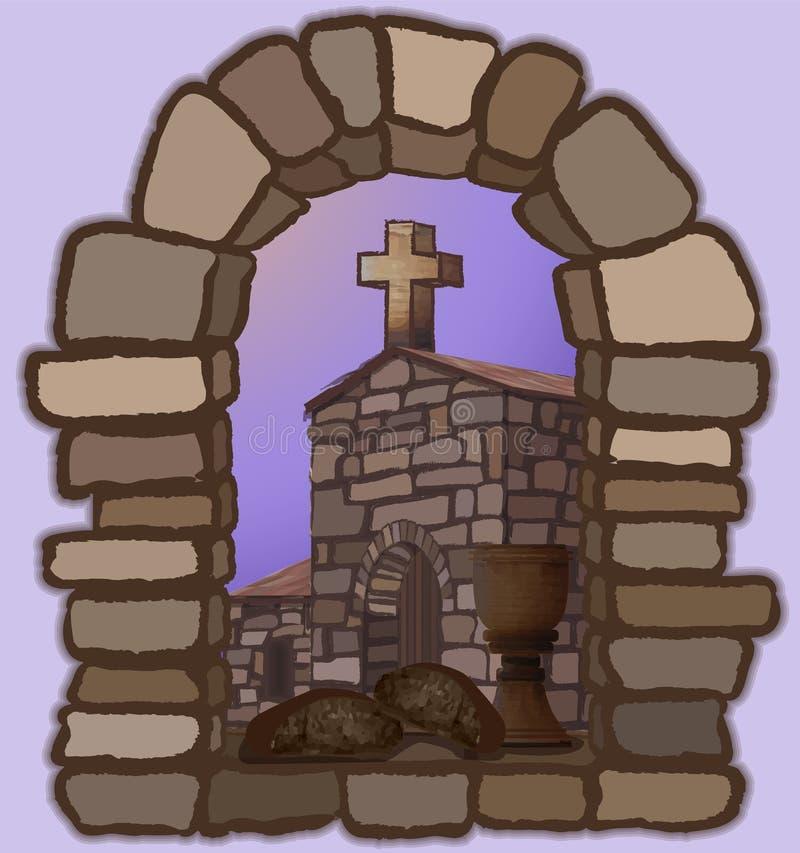 酒和黑面包在一个被成拱形的石窗口,忽略老中世纪教会和十字架 皇族释放例证