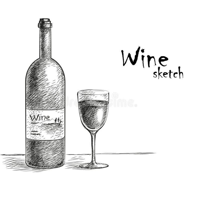 酒和玻璃剪影 库存例证