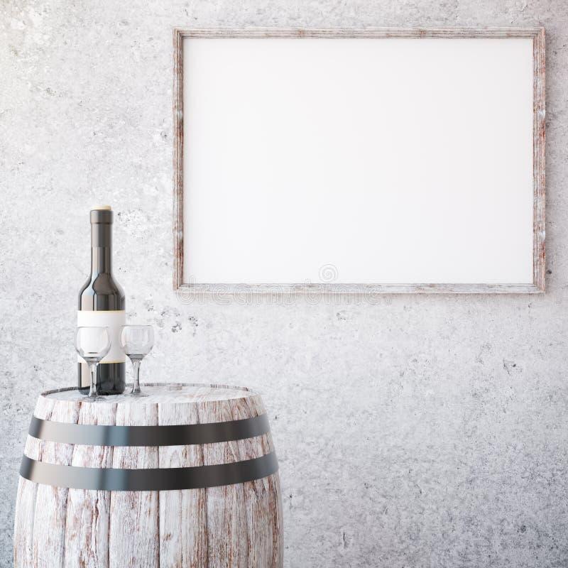 酒和年迈的木制框架 向量例证