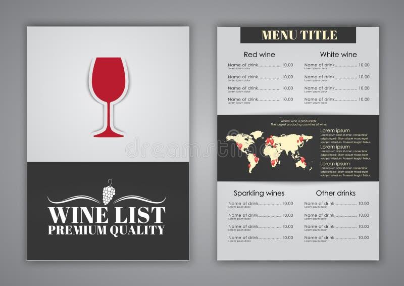 酒咖啡馆的,餐馆菜单设计 皇族释放例证