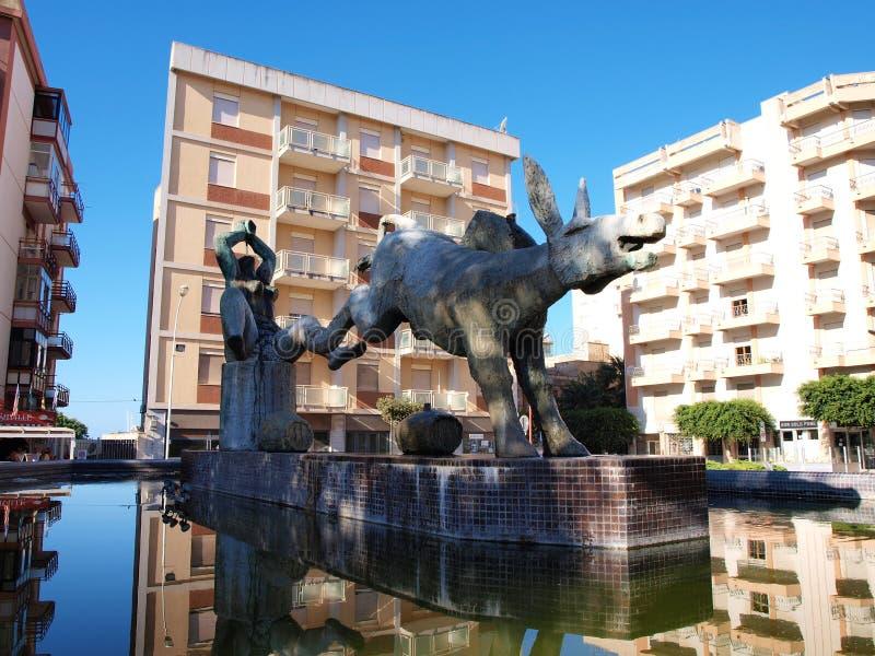 酒喷泉,马尔萨拉,西西里岛 意大利 免版税库存图片