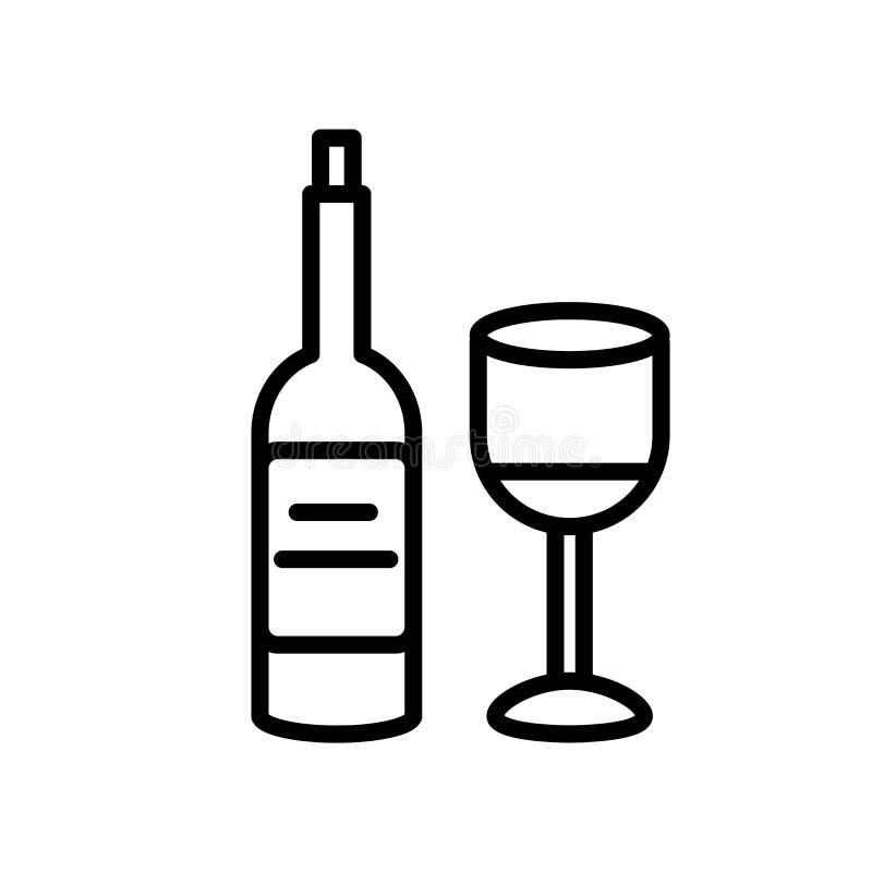 酒在白色背景、酒标志、线或者线性标志隔绝的象传染媒介,在概述样式的元素设计 向量例证