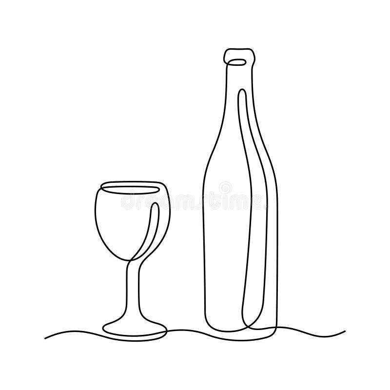酒实线传染媒介例证 免版税库存照片