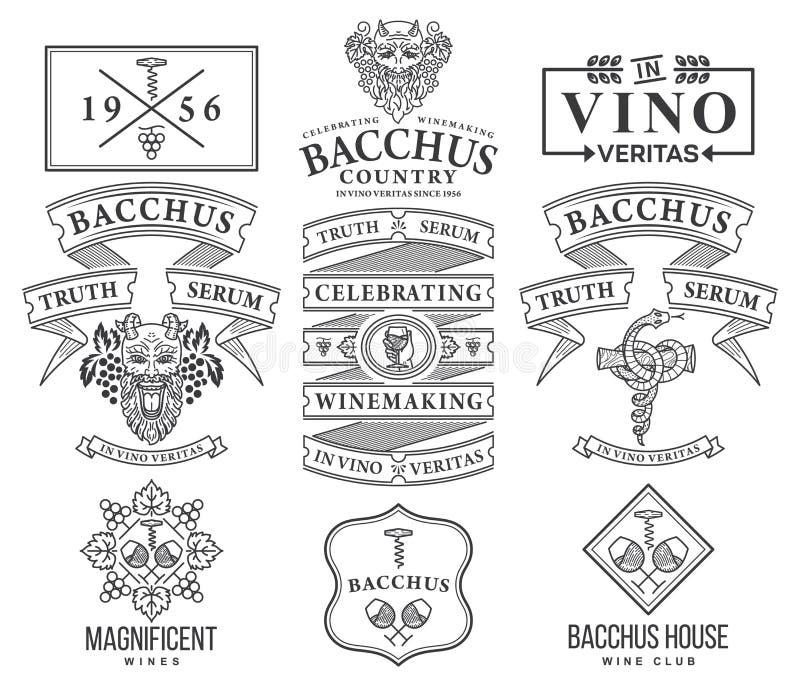 酒徽章和象在白色集合C染黑 皇族释放例证