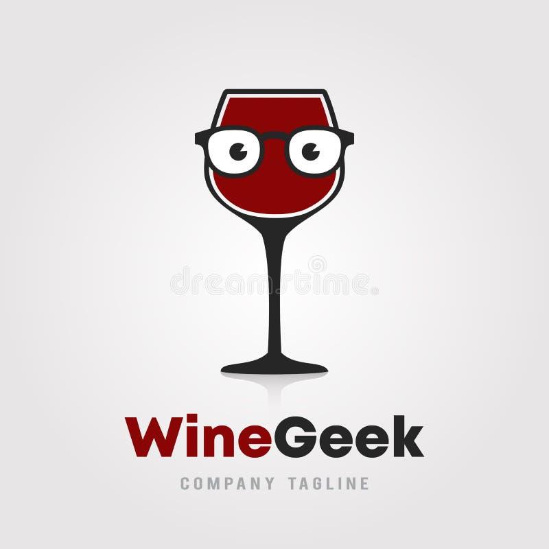 酒怪杰商标模板设计 一杯与行家/书呆子玻璃象的酒在白色背景传染媒介例证为 皇族释放例证