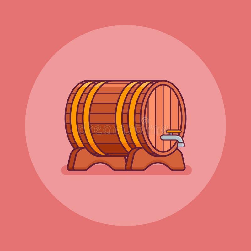 酒或啤酒木桶平的线象 也corel凹道例证向量 皇族释放例证