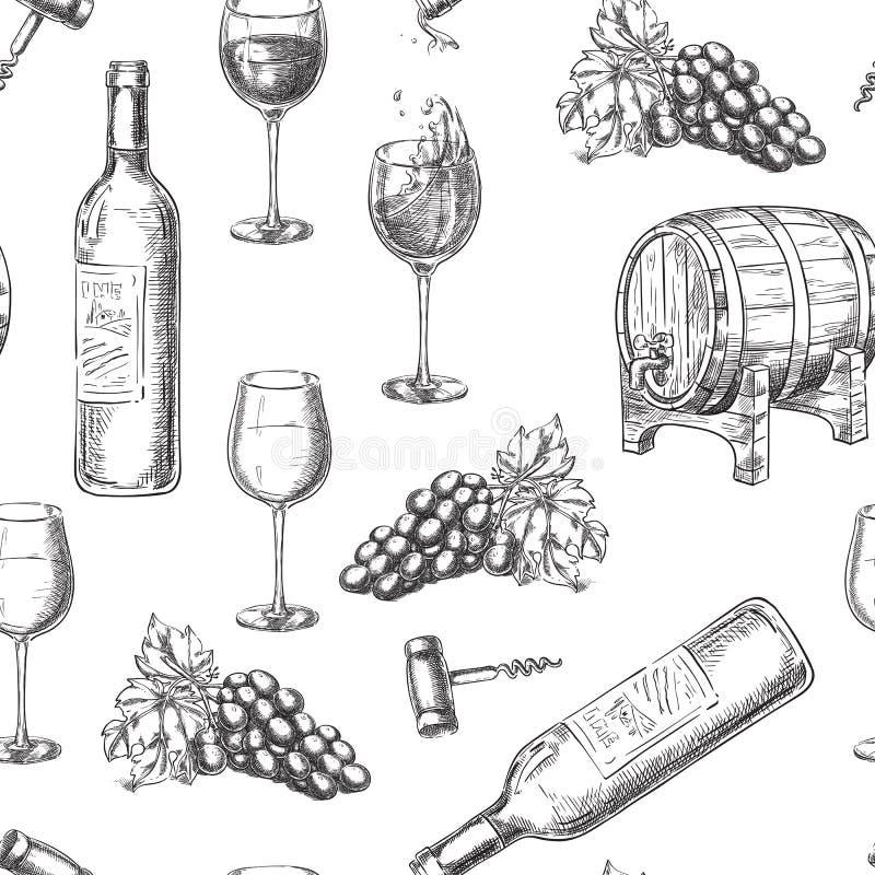 酒无缝的传染媒介样式 速写瓶,玻璃,葡萄树,桶,拔塞螺旋的手拉的例证 皇族释放例证