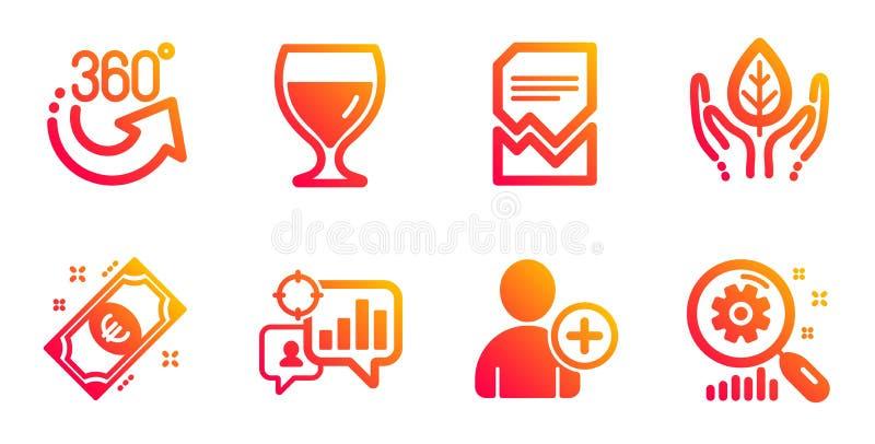 酒杯、公平交易和Seo统计象集合 欧元金钱,360度和增加用户标志 ?? 皇族释放例证
