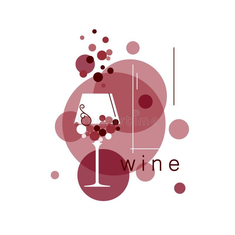 酒杯和抽象葡萄 库存例证