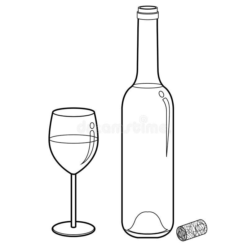 酒杯和瓶概述传染媒介 库存例证