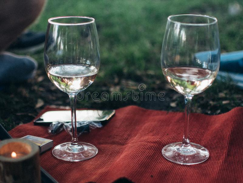 酒杯和篮室外野餐的场面 免版税库存照片