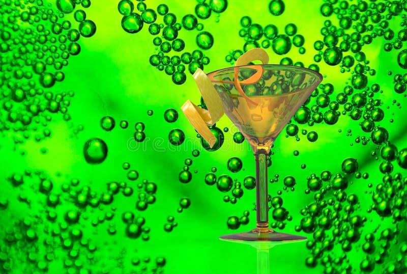 酒杯和饮料在纹理泡影 免版税库存图片