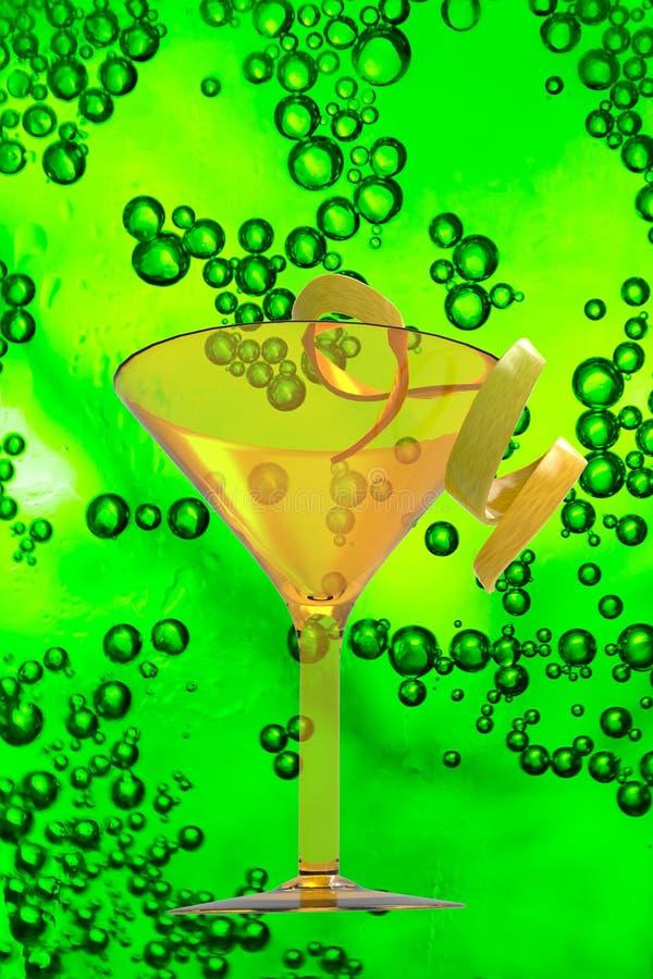酒杯和饮料在纹理泡影 库存照片