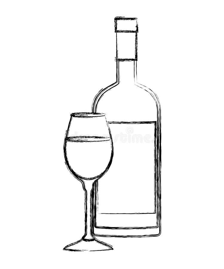 酒杯子和瓶象 向量例证
