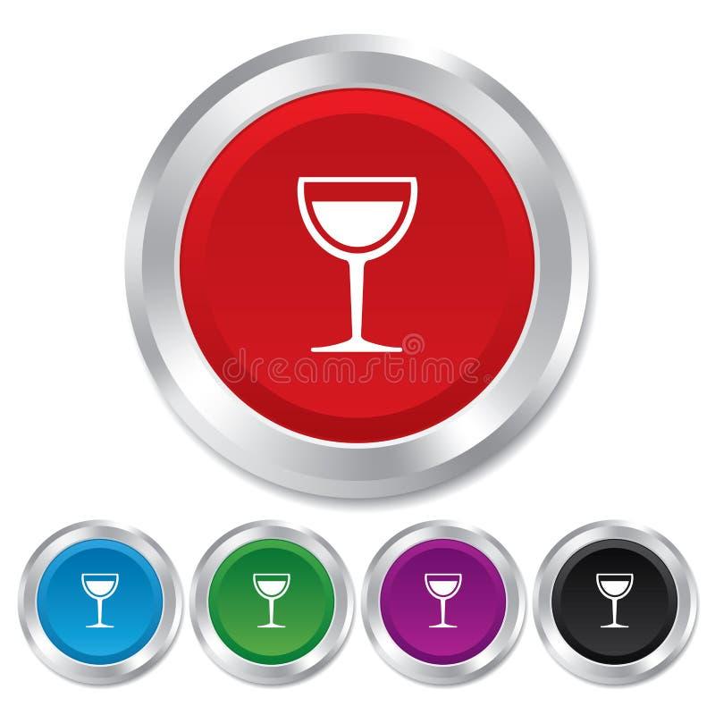 酒杯标志象。酒精饮料标志。 向量例证