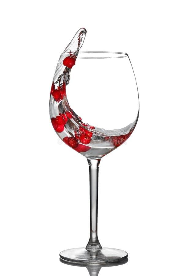 酒杯水蔓越桔从玻璃飞溅  免版税图库摄影