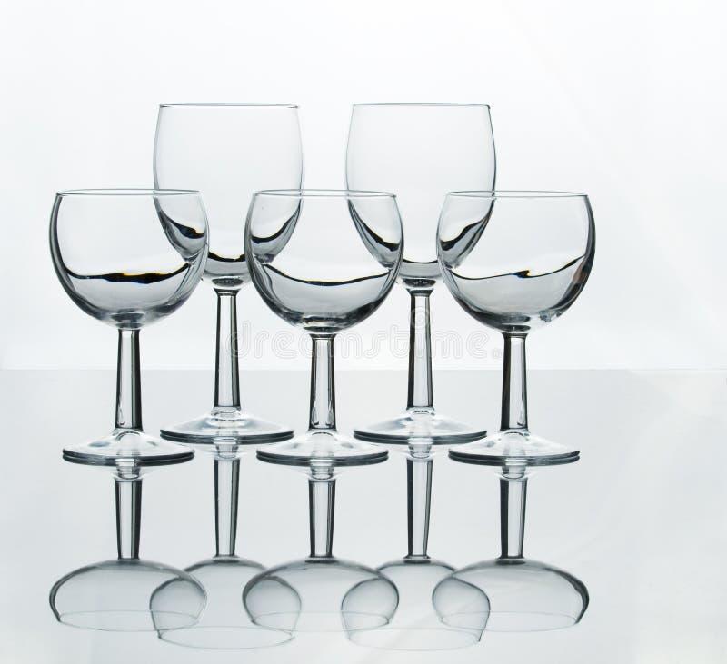 酒杯的五不同大小 免版税库存照片
