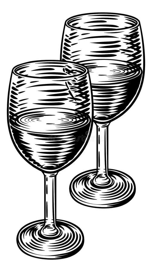 酒杯铭刻样式的葡萄酒木刻 库存例证