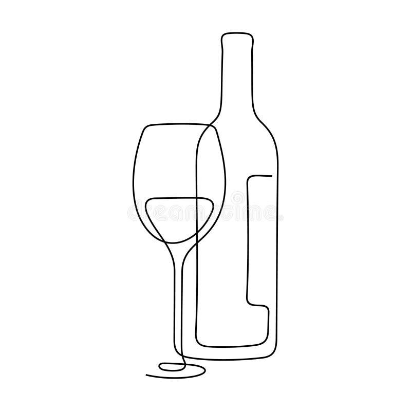 酒构成实线传染媒介例证 免版税库存图片