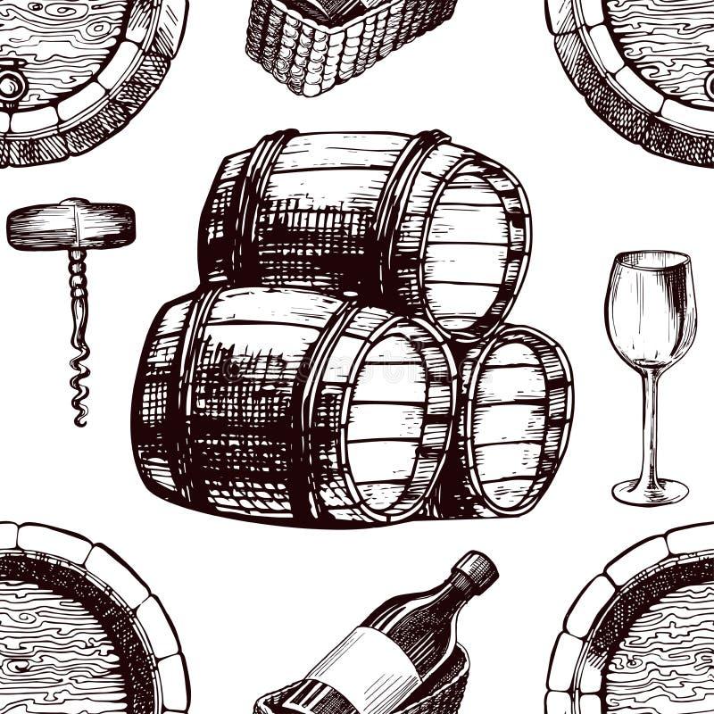 酒样式剪影背景传染媒介无缝的葡萄酒酿造桶、葡萄树玻璃和拔塞螺旋 库存例证