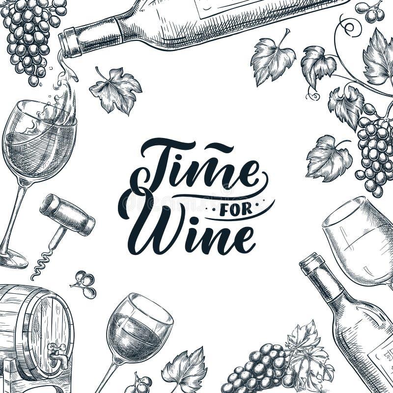 酒框架的时刻与手拉的书法字法 传染媒介剪影例证 海报、标签或者菜单设计 皇族释放例证