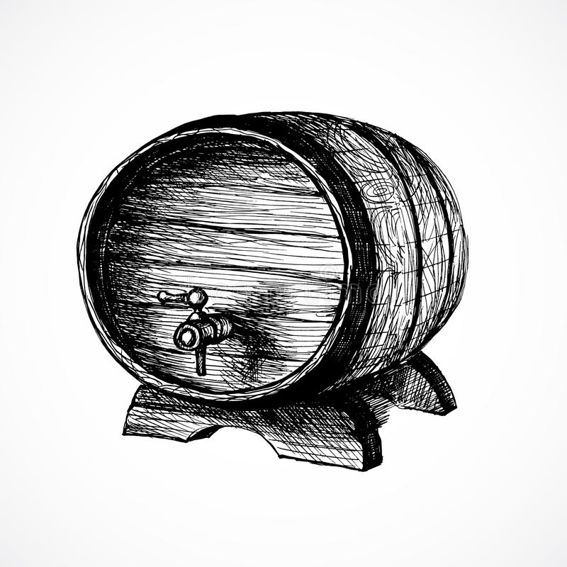 酒桶剪影和葡萄酒例证 向量例证