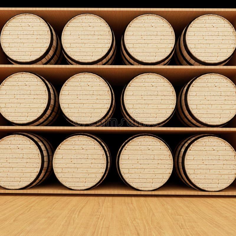 酒橡木在3D翻译的商店滚磨 库存例证