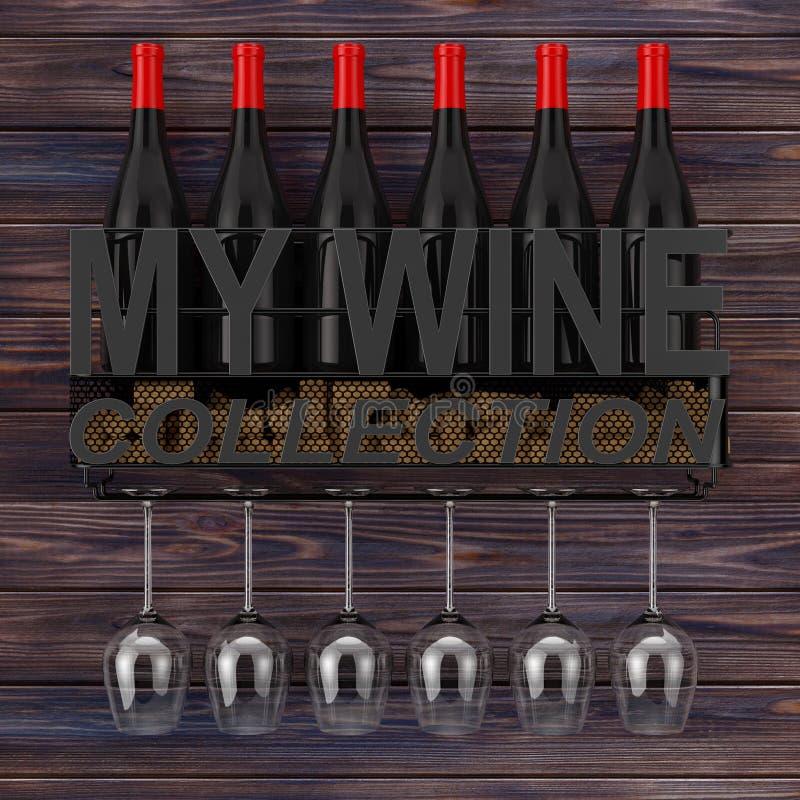 酒瓶、黄柏和玻璃在金属墙帷酒存贮架子与我的酒汇集标志 3d翻译 向量例证