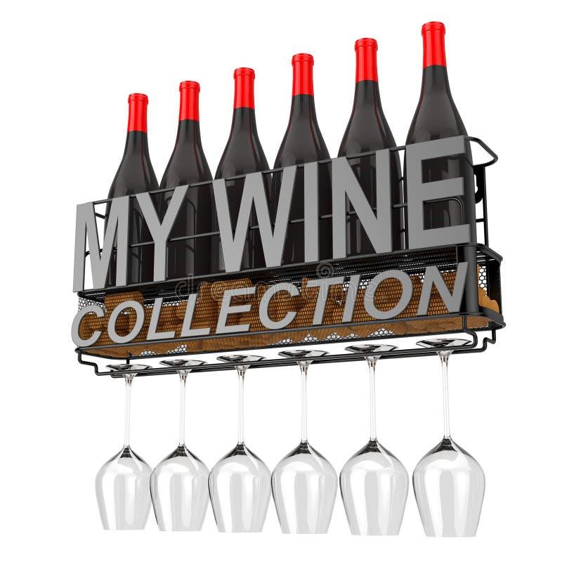 酒瓶、黄柏和玻璃在金属墙帷酒存贮架子与我的酒汇集标志 3d翻译 库存例证