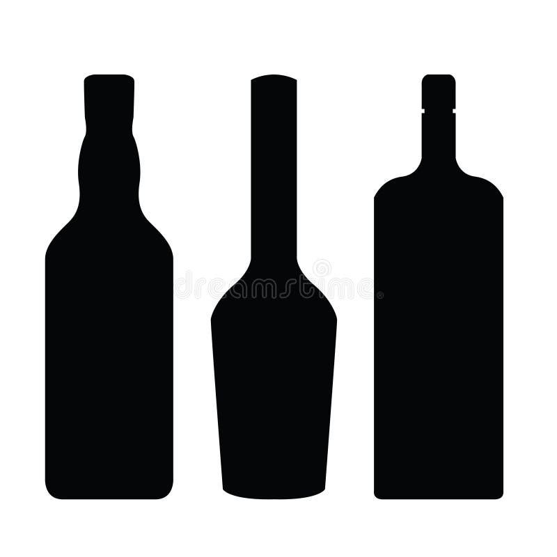 酒瓶剪影传染媒介clipart 库存例证